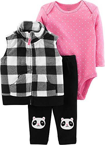 Carter's Baby Girls 3 Piece Vest Set, Black Plaid/Panda, 6 Months