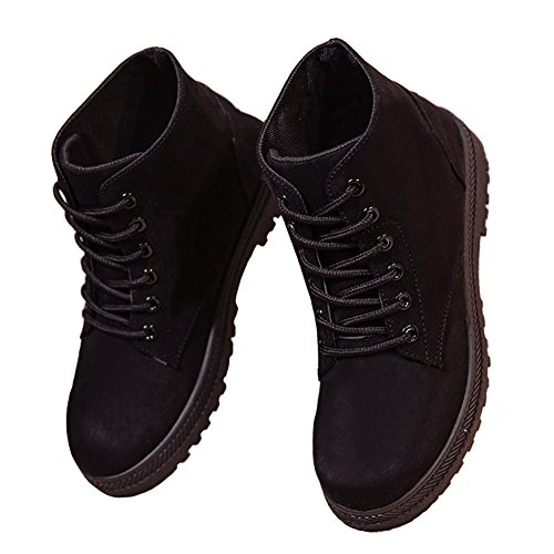 Eagsouni�?Damen Stiefeletten Kurzschaft Stiefeln Mädchen Wildleder Schnürung Stiefel Schuh Worker Boots Martin Stiefel Ohne Samt Schwarz