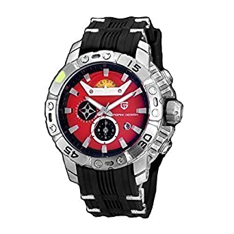 PAGANI DESIGN Mens Multi-function 6 pointer Black Leather Band Red Dial Waterproof Quartz Wrist