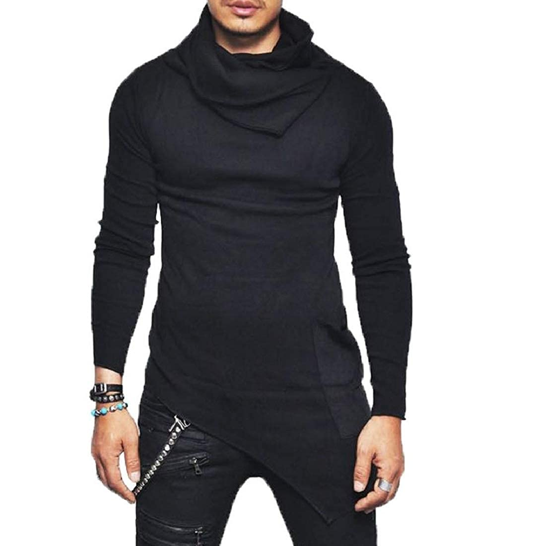 SportsX Men Solid Color Assymetry Sweater Vogue Turtle Neck Tops