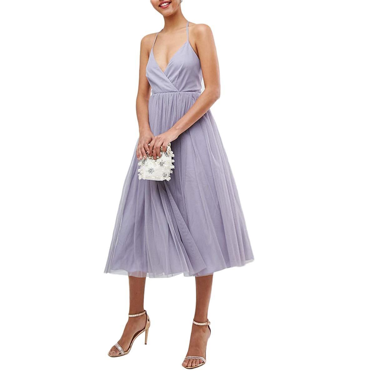 Jahurto Spaghetti Strap V Neck High Waist Swing Party Bridesmaid Evening Women Dress