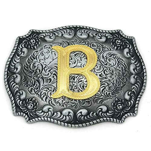 (Western Belt Buckle Initial Letters ABCDEFG to Y-Cowboy Rodeo Silver Large Belt Buckle for Men and Women (B) Upgrade)