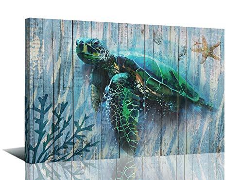 Blue Sea Framed - Arjun Canvas Sea Turtle Wall Art Prints Submarine Picture One Panel 16