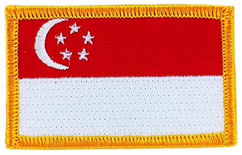 Toppa Ricamata Bandiera SINGAPORE thermocollant insigne Stemma Backpack Akacha