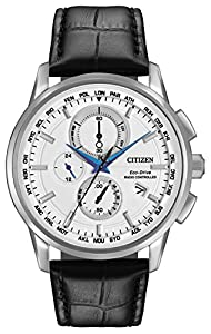 Citizen World Chronograph Men's Quartz Watch with White Dial Analogue Display and Black Leather Strap AT8110-02A