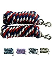 Majestic Ally Pack of 2 Solid Cotton Lead Rope for Horses & Livestock – 10 Foot Long and 5/8 inch Thick - Replaceable Heavy-Duty Satin Bolt Snap – Handmade – Soft, Broken in Feel