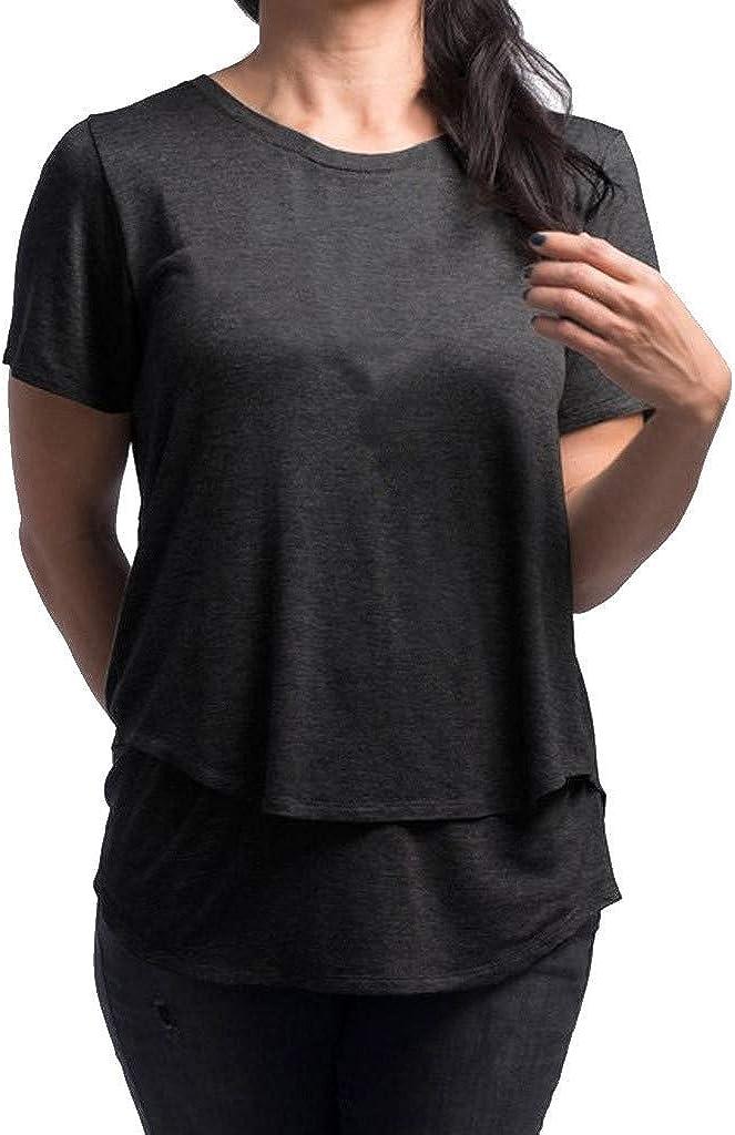 Mymyguoe Damen Umstandstop Damen Still Umstands-Top Lagendesign Design Doppelschicht Bluse T-Shirt Umstandsmode Umstandsshirt Schwangere Stillshirt Mutterschaft Umstandstop