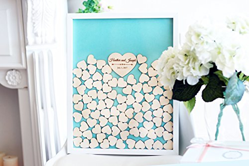 Teisyouhu Teal Wedding Decorations Guest Book Drop Box Frame Wooden Wedding Gifts for the Couple Sign In Guestbook 16 x 20 inch with 150 Hearts -
