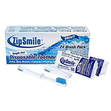 ZipSmile® Prepasted Mint Flavor Disposable Compact Folding Toothbrush Travel, Invisalign, Camping, On The Go (24)