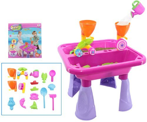 deAO? Toddler Kids Children Sand and Water Table with Assorted Accessories in Blue or Pink (PINK) by deAO