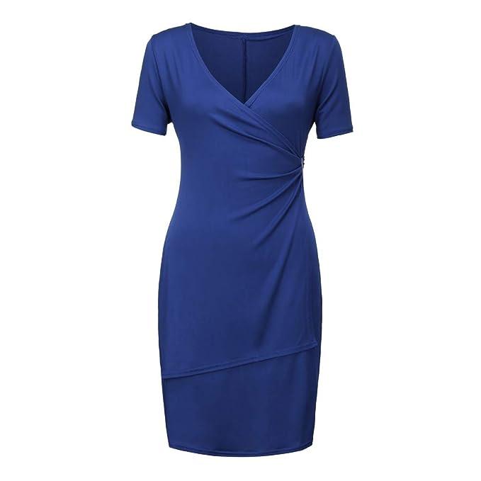 Amazon.com: Vestido de manga corta para mujer, talla grande ...