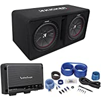 Kicker 43DCWR122 COMPR12 2000W Dual 12 Subwoofers+Vented Box+Rockford Amp+Wires