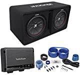 Kicker 43DCWR122 COMPR12 2000W Dual 12'' Subwoofers+Vented Box+Rockford Amp+Wires
