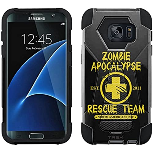 Samsung Galaxy S7 Edge Hybrid Case Zombie Apocalypse 2012 Rescue Team Yellow on Black 2 Piece Style Silicone Case Cover with Stand for Samsung Galaxy Sales