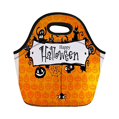 (Semtomn Lunch Tote Bag Orange Border Halloween Red Pumpkin Pattern Lantern Vintage Jack Reusable Neoprene Insulated Thermal Outdoor Picnic Lunchbox for Men)