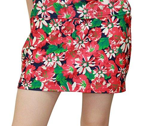 7446 M RED 花柄プリントスカート DELSOL GOLF ゴルフウェア レディース アンダーパンツ付 ウエスト総ゴム