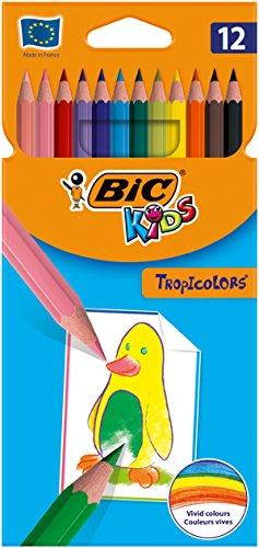 Comprar BIC Kids Tropicolors - Caja de 12 unidades, lápices de colores surtidos - Tienda online material escolar - Envíos Baratos o Gratis