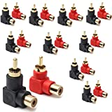 RCA Male to RCA Female Connectors Right Angle Plug Adapters M/F 90 Degree Elbow Gold-Plated (10 Black + 10 Red) (20-Pack)