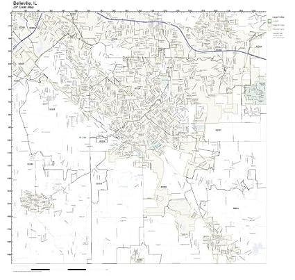Amazon.com: ZIP Code Wall Map of Belleville, IL ZIP Code Map
