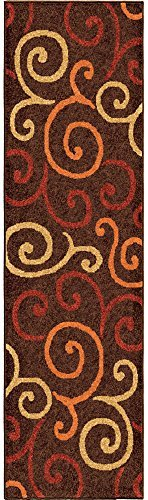 (Orian Aruba Area Rug 2324 Contemporary Brown Curls Swirls 2' 3