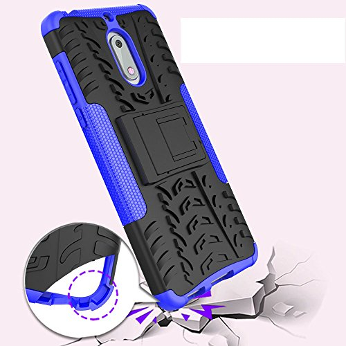 Nokia 6 Case, Skmy Shockproof Impact Protection Tough Rugged Dual Layer Protective Case Cover with Kickstand for Nokia 6 (Blue) by Skmy (Image #5)