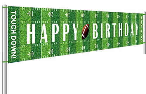 Football Happy Birthday Party Banner Game Day Sports Party Photo Backdrop Hanging Decorations(9.8 x 1.5 feet)