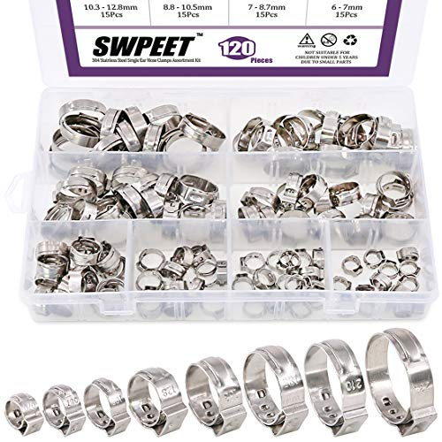 Swpeet 120Pcs 8 Sizes 304 Stainless Steel Single Ear Hose Clamps, Crimp Hose Clamp Assortment Kit Ear Stepless Cinch Rings Crimp Pinch Fitting Tools Perfect for Automotive, Home Appliance ()