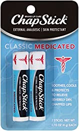 ChapStick Classic Medicated Lip Balm and Skin Protectant Tube, Relieves Chapped Lips, 0.15 Ounce Each (1 Blister Pack of 2 Sticks)