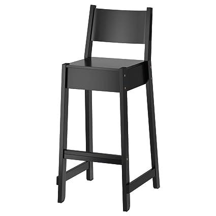 Fantastic Amazon Com Ikea Asia Norraker Bar Stool With Backrest Black Andrewgaddart Wooden Chair Designs For Living Room Andrewgaddartcom