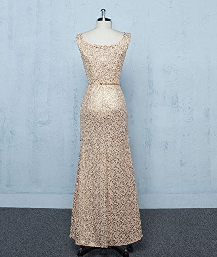 Sequins Slim Long Neck Gold Prom Gowns Dress U Bridal Party Women's Fit Evening Drasawee vXqwEw
