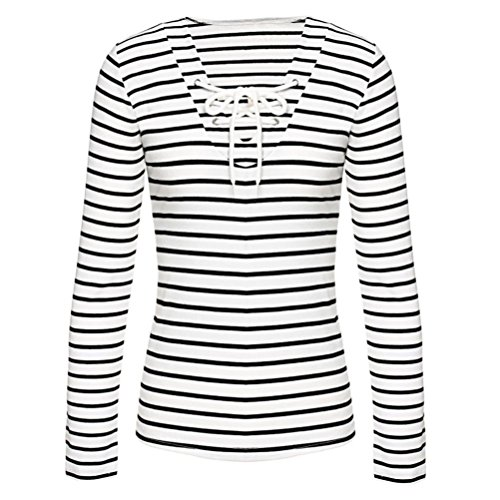 New Fashion Women Stripe Long Sleeve Casual Blouse Shirt, Ninasill Beautiful Black And White Tops T-Shirt Blouse (M)