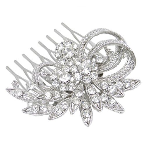 Wedding Flower Leaf Hair Comb Clear Austrian Crystal Silver-tone