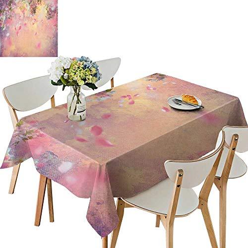 UHOO2018 Polyester Fabric Tablecloth Square/Rectangle Cherry Tree Blossom Cheerful Childish Fun Cartoon Art Garden in Sakura Season Pink for Picnic,Outdoor or Indoor,52 x ()