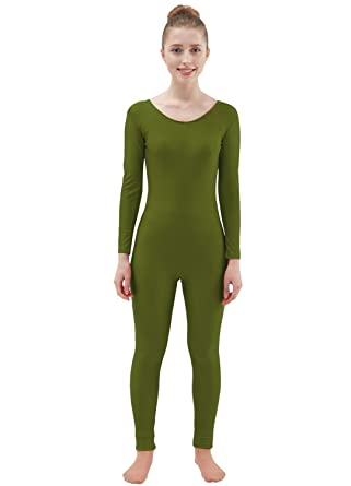 c12fc1734e Ensnovo Womens Spandex Bodysuit Long Sleeve Scoop Neckline Footless Unitard  ArmyGreen