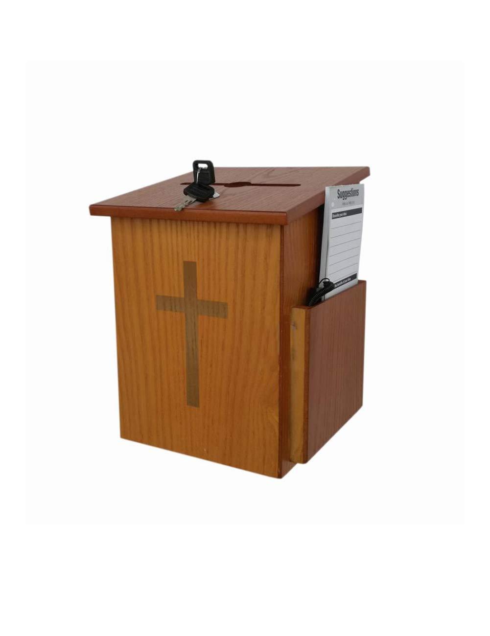 XF 教会用品木製慈善団体寄付の提案箱シングルロックボックス献身ボックスラブボックス //   B07KFTXLG3
