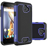 OEAGO Hybrid Dual Layer Rubber Plastic Impact Defender Rugged Slim Hard Case Cover Shell for Coolpad-Catalyst - Blue