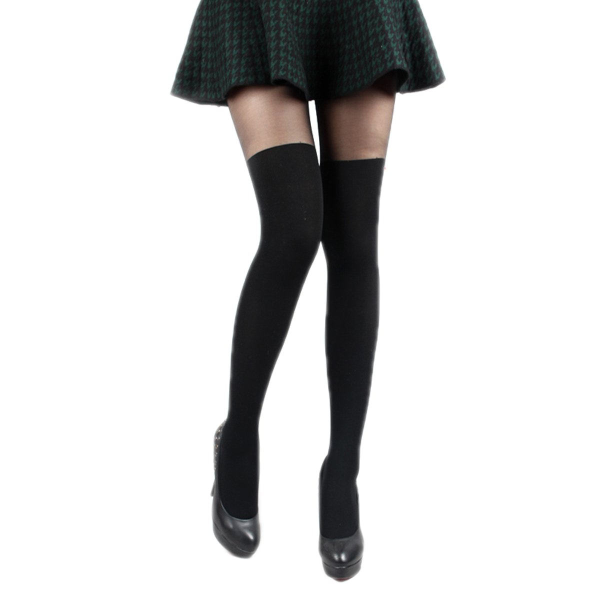 18MM Sheer Mock Over The Knee Suspender Tights Pantyhose Stockings