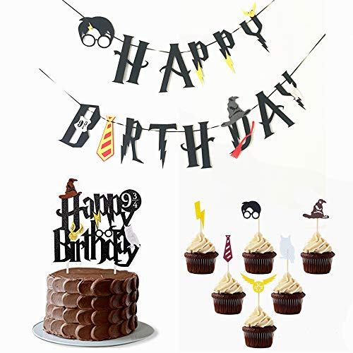 - Little Magician Theme Happy Birthday Banners Cake Topper Suit Hogwarts Lightning Felt Flags Bunting for Baby Birthday Party Hanging Decoration (Multicolor)