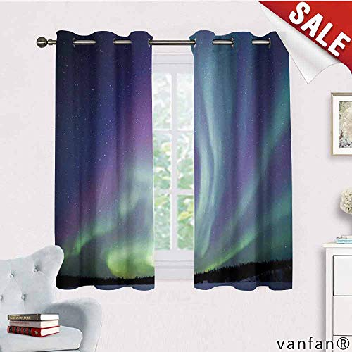 LQQBSTORAGE Aurora Borealis,Blackout Curtains 2 Panels,Exquisite Atmosphere Solar Starry Sky Calming Night Image,Curtains for Bathroom,Mint Green Dark Blue Violet