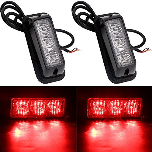 EverBrightt 2-Pack Red 3 LED Car Flash Light DRL Truck Emergency Strobe Flash Warning Light 12-24V