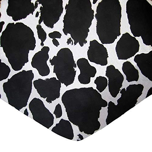 SheetWorld Fitted Crib / Toddler Sheet - Black Cow - Made In -