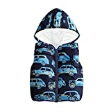 Jchen(TM) Clearance Little Boy Cartoon Car Sleeveless Coat,Suitable for 1-6 Years Old,Toddler Kids Baby Girls Boys Sleeveless Car Print Hooded Warm Waistcoat (Age: 5-6 Years Old, Navy)