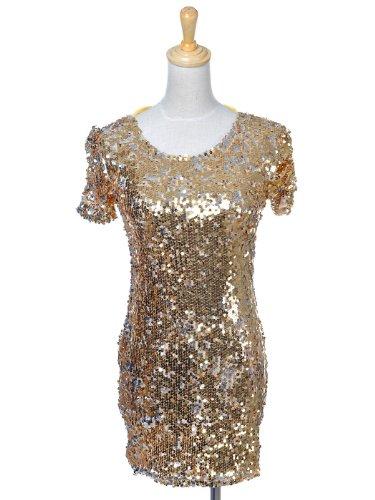 M Shiny Lady Kaci ganz inspiriert Gaga Gold Kleid Metallic Pailletten Fit S Anna q1HwxUIE4