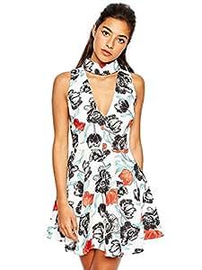Joshua G Smith's Shop Sexy Cut-Out A-Line White Floral Dress White 6266101J0422521071D Size XS