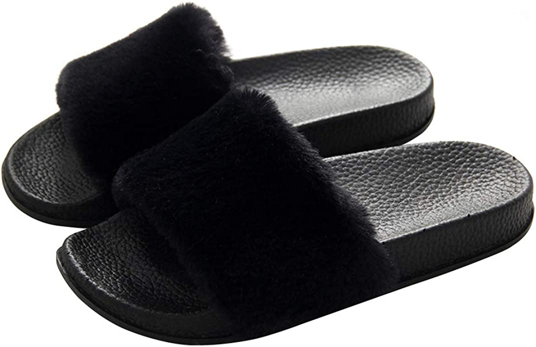really cheap another chance crazy price Amazon.com | Women's Slippers Fuzzy Slides, Fluffy Sandals Faux ...