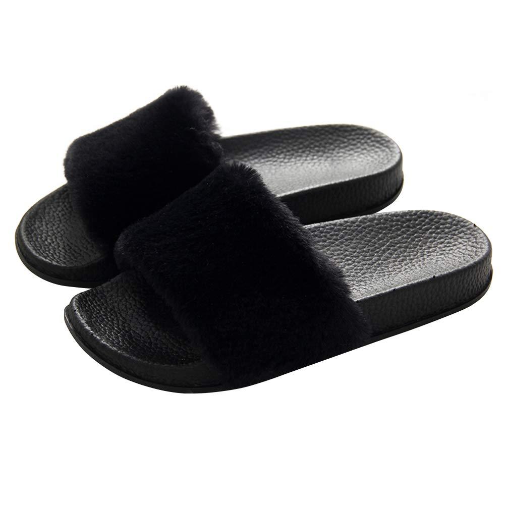 21978e5df32a7 Women's Slippers Fuzzy Slides, Fluffy Sandals Faux Fur Flip Flops Open Toe  Soft Indoor Outdoor Pink Black Grey