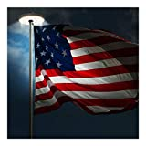 Solar Upgraded flagpole Light 20LEDs Top Mount For Garden Decor White & Battery