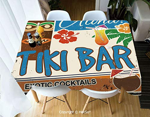 (HooSo Fabric Rectangular Table Cloth, Washable Table Cover Perfect for Christmas, Thanks Giving, Dinner Parties, BBQ and Everyday Use,Tiki Bar Decor,Rusty Vintage Sign Aloha Exotic,60