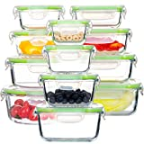 Glass Food Storage Containers with Lids, [24 Piece] Airtight Glass Storage Containers, 100% Leak Proof Glass Meal Prep Containers, BPA Free Glass Bento Boxes for Lunch (12 lids & 12 Containers) (Color: Clear)