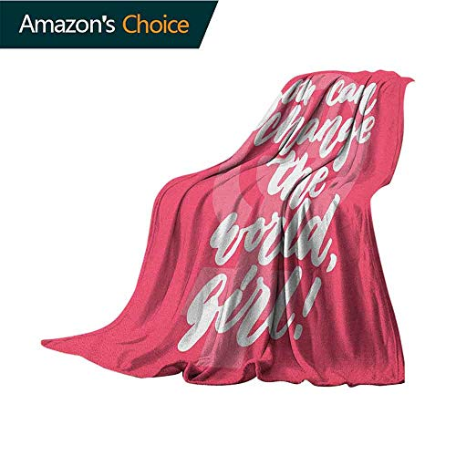 Quote Leisure Blanket,You Can Change The World Girl Female Empowerment Feminist Text on Pink Super Soft and Comfortable,Suitable for Sofas,Chairs,beds,50